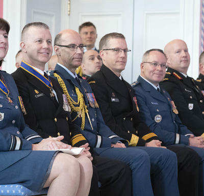 Recipients of the Order of Military Merit take part in the ceremony.