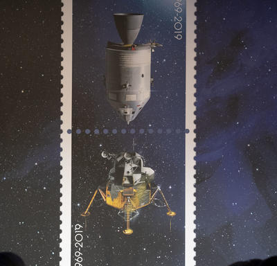 A photo of the Apollo 11 stamps.