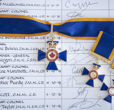 A picture of Order of Military Merit medals.