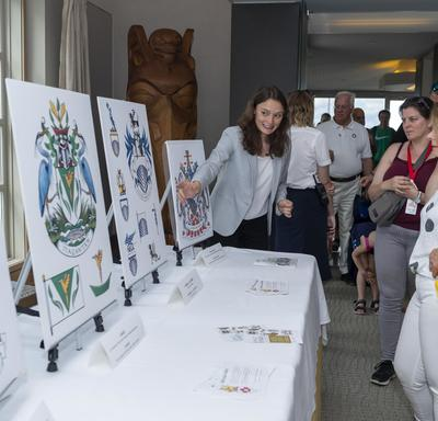 Rideau Hall staff showed visitors different crests.