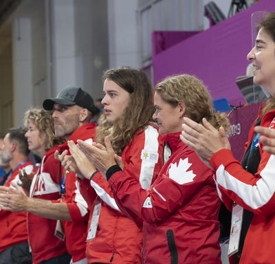 The Governor General and the Canadian delegation cheered on the Canadian women's handball team.