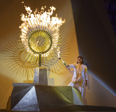 The Pan Am flame was lit.