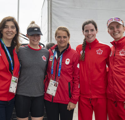 The Governor General met with the Canadian athletes in the modern pentathlon after the competition.