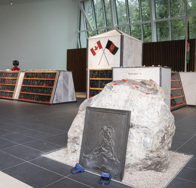A photo of the Kandahar Cenotaph inside the Afghanistan Memorial Hall.