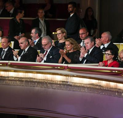 A photo of the Governor General and other Heads of State, seated inside the Grand Theatre in Warsaw, Poland.