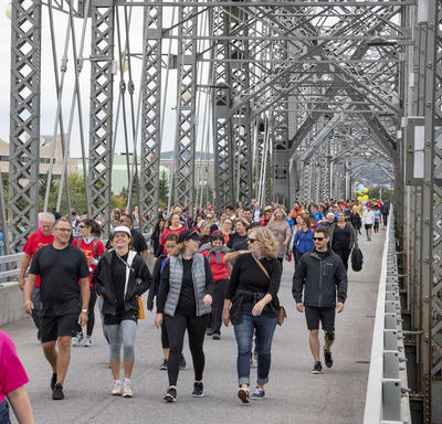 A photo of the crowd taking part in the GCWCC 5 km Walk Run Roll event.