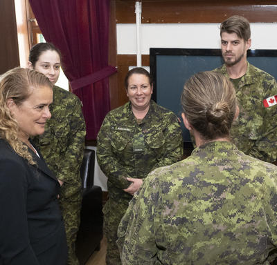 The Governor General meets with members of the regiment.