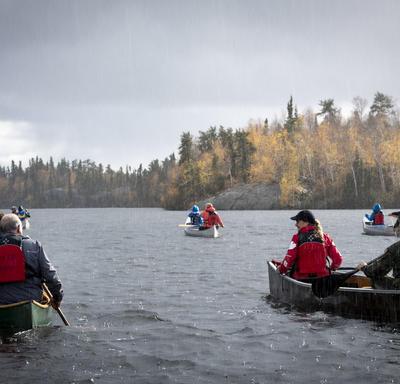 Canoes on a lake.