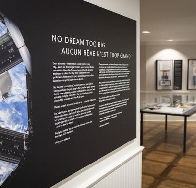 Part of the Dare to Dream exhibition, presented at Rideau Hall until 2022.