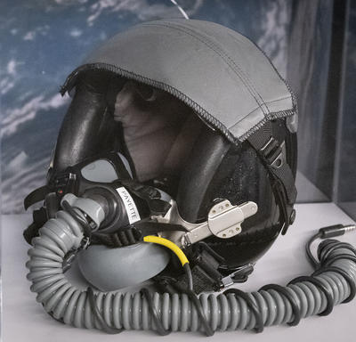 Helmet worn by Governor General Payette while flying on NASA T-38 jets.