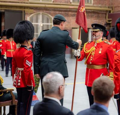 Lieutenant-Colonel Quesnel is welcomed as the new LCol Commanding of the Governor General's Foot Guards.