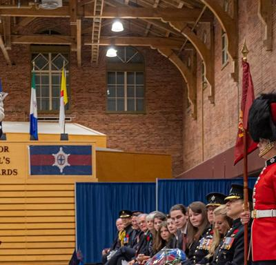 The Governor General salutes the Governor General's Foot Guards during a change of command ceremony.