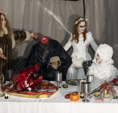 A photo of Halloween props on a table.