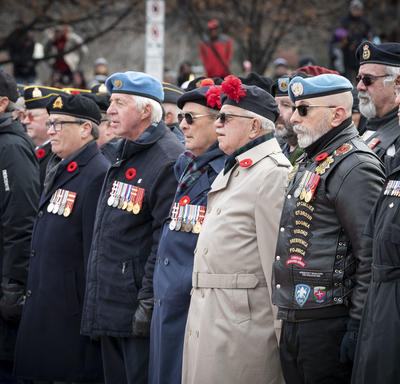 Veterans stand in solidarity during the National Remembrance Day Ceremony.