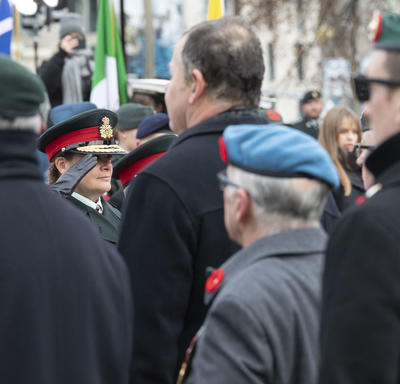 The Governor General faces and salutes veterans during the National Remembrance Day Ceremony.