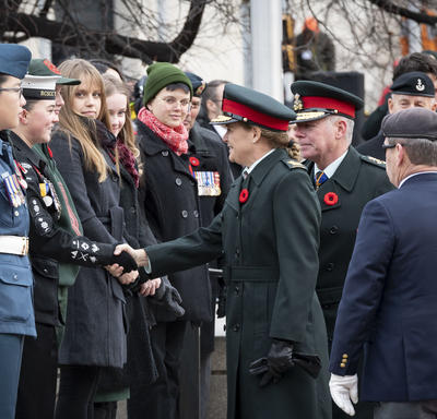 The Governor General shakes hands with a cadet at the National Remembrance Day Ceremony.