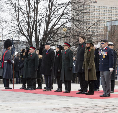 The Vice-Regal Party stands in solidarity during the National Remembrance Day Ceremony.