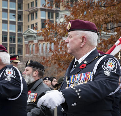 Veterans march in solidarity during the National Remembrance Day Ceremony.