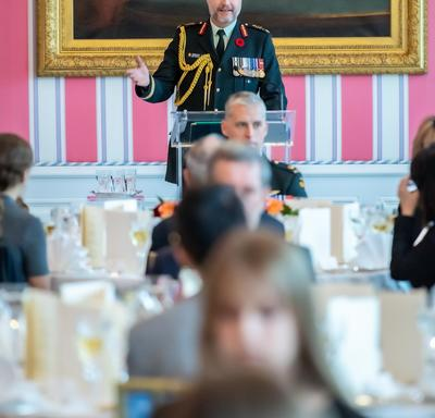Brigadier-General Theriault delivers remarks at the Luncheon for the National Silver Cross Mother.