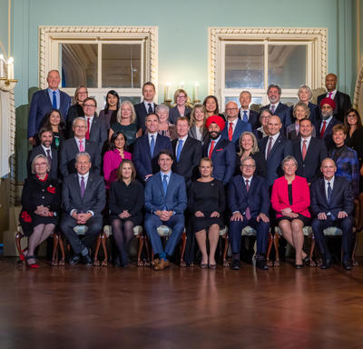 A group photo of the  Governor General, the Prime Minister and members of the 29th Canadian Ministry