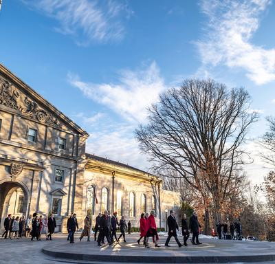 People walking out of Rideau Hall