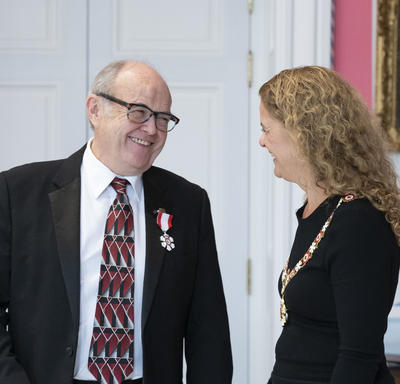 The Governor General shares a moment with a recipient during an Order of Canada ceremony.