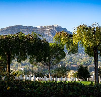 View of the Cassino War Cemetery on a sunny fall day.