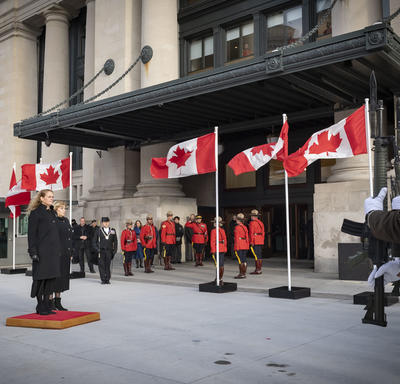 Upon arrival at the Senate of Canada Building, the Governor General received the Royal salute.