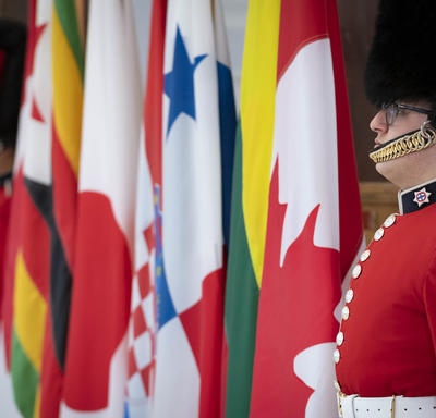 A photo of national flags flanked by two ceremonial guards.
