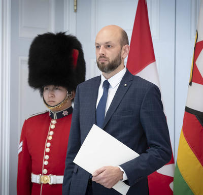 The Ambassador-designate of the Republic of Lithuania prepares to hand letters of credence to the Governor General.