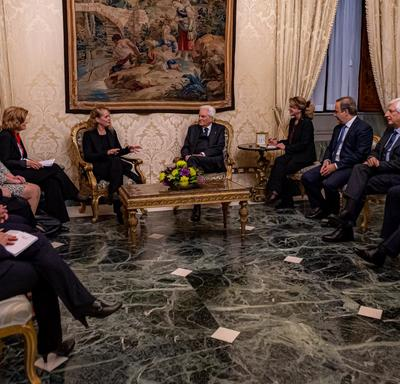 The Governor General and Canadian officials meet with the Presidents and Italian officials.