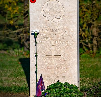 The tombstone of a Canadian soldier.