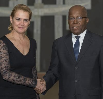 His Excellency Gnagno Philibert Fagnidi, Ambassador of the Republic of Côte d'Ivoire, shakes hands with the Governor General.