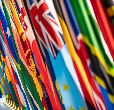 Les drapeaux des différents pays représentés à la conférence.