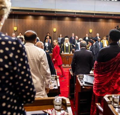The Governor General exited the Senate Chambers.