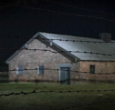 Photo d'un bâtiment à Auschwitz.