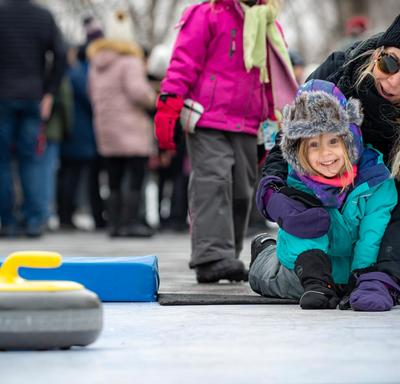 Volunteers demonstrated the ins and outs of curling.