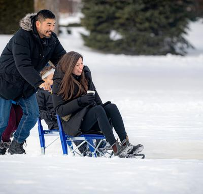 A team from the Embassy of Finland helped participants to experiment kicksledding, a chair-mounted sled.