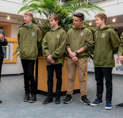 The Governor General meets with five teenagers who performed a heroic act at the District Hall in North Vancouver.