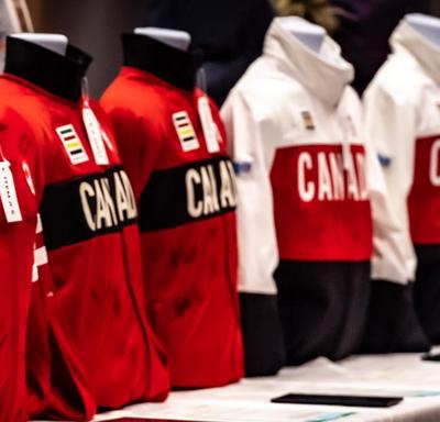 A photo of Canadian Olympic gear on mannequins.