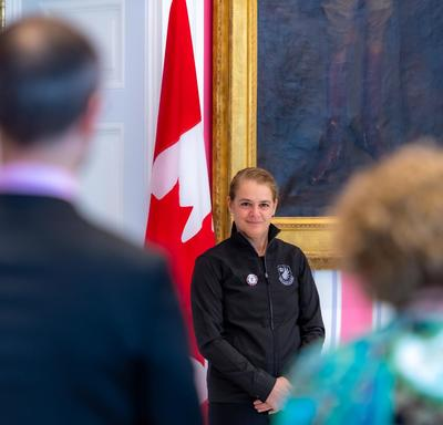Two teachers stood to thank the Governor General.