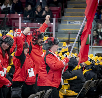 Athletes cheer at the Special Olympics Canada Winter Games Thunder Bay 2020 Opening Ceremony.