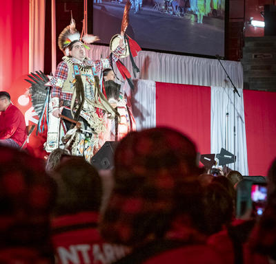 Indigenous dancers perform on stage during the Special Olympics Canada Winter Games Thunder Bay 2020 Opening Ceremony.
