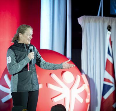 La gouverneure générale prononce une allocution lors de la cérémonie d'ouverture des Jeux olympiques spéciaux d'hiver du Canada Thunder Bay 2020.