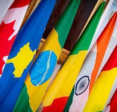 Une photo de drapeaux alignés dans la salle de la tente à Rideau Hall lors d'une cérémonie de lettres de créance.
