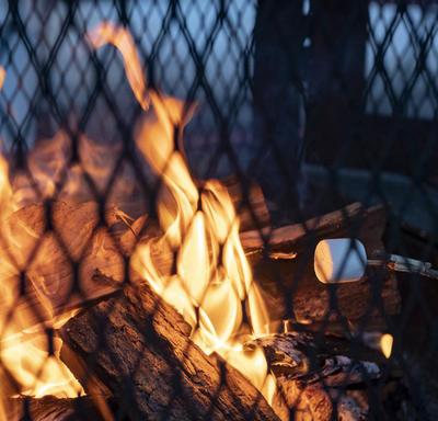 Une photo d'un feu chaud à Rideau Hall, de la guimauve rôtissant par dessus.