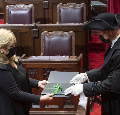 A man and a woman are both dressed in black, wearing masks. They are both holding a binder that has a green bow on it. The man is wearing white gloves and a black hat.