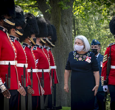 Governor General Mary May Simon conducting her first inspection of the guards outside Rideau Hall.