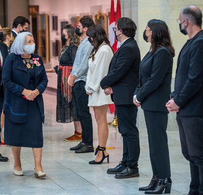 Governor General Mary May Simon thanking artists who performed during the installation ceremony.