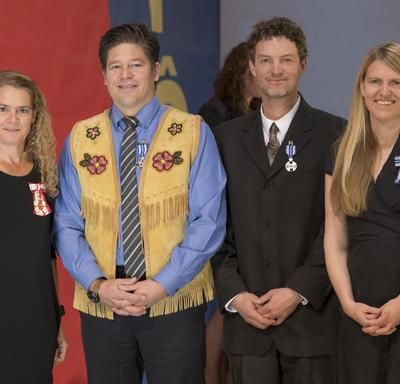 The Meritorious Service Medal was presented to Derek Crowe, Justin Ferbey and Jane Koepke, who started Singletrack to Success, a network of mountain biking trails on Montana Mountain near Carcross, Yukon.